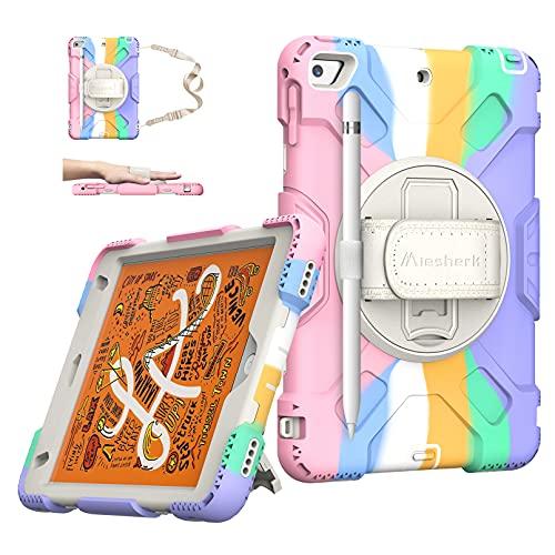 iPad Mini 5 Case 2019 - iPad Mini 4 Case Military Grade Silicone Shockproof Protective Cover for Kids iPad Mini 5th  4th Generation 7.9 Inch 2015 - W  Stand + Handle + Shoulder Strap+ Pencil Holder