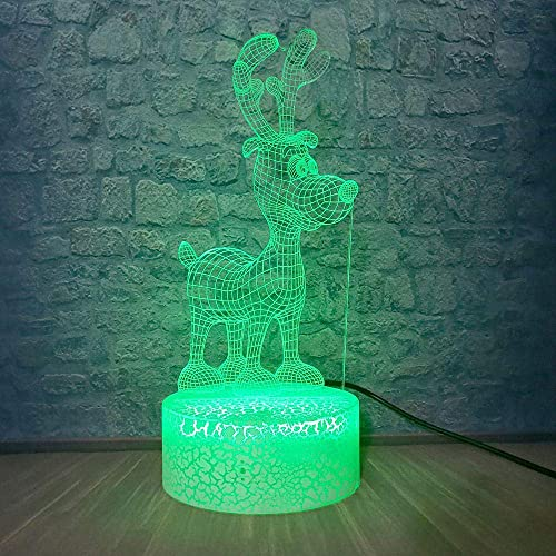 3D Illusion Lamp Led Night Light Reindeer Table Lamp Baby Room Sleep Mood USB Touch Remote Switch Kid Creative Gift Toys