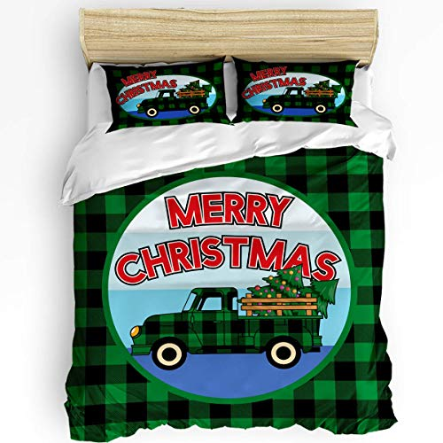 SUPERQIAO Merry Christmas Car 3PCS Bedding Sets, Green and Black Buffalo Check Lattice Grid Luxury Duvet Cover Set with Decorative 2 Pillow Shams Bedspread