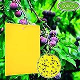 Klebrige Insektenfallen,50 Stück Insektenfalle,Gelbe Fliegenfalle Fänger Fliegenfängern Sticker für Weiße Fliegen,Blattläuse,Blatt Bergmann,Motten andere