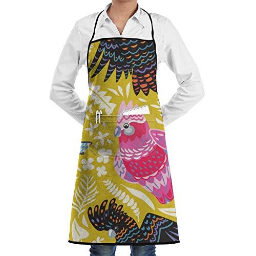 Exotisch Patroon Met Australische Vogels En Tropische Bladeren Keuken Bib Schort Aprons Waterdrop Resistant Koken Bakken Crafting BBQ Voor Vrouwen Mannen Met Zakken Aangepast