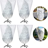 4 Pieces Winter Drawstring Plant Cover Plant Protection Cover Bags Frost Protection Bag Preventing Freezing Frost Bad Weather Pests Eating (32 x 47 Inch)
