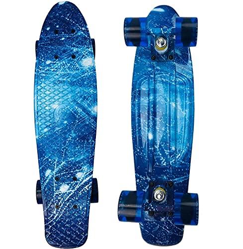 skateboard Skateboard Mini planche à roulettes 22 pouces avec roues lumineuses Skateboard complet pour enfants débutants jeunes adolescents adultes avec tout-en-un Skate T-Tool ( Color : Galaxy )