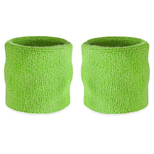 Suddora Wrist Sweatbands Also Available in Neon Colors - Athletic Cotton Terry Cloth Wristband for Sports (Pair) (Neon Green)