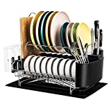 Kitchen Dish Drying Rack, Rocita 2 Tier 304 Stainless Steel Dish Rack for Counter, Drainboard Set with Utensil & Knife Holder Dish Drainer, Cutting Board Holder