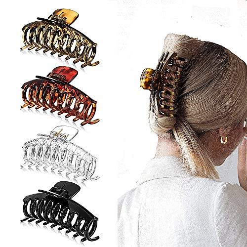 4 Stück Große Haarklammer,Dicke Haare Klaue Für Frauen,Kunststoff Klaue Clips Rutschfest Haarspangen,Große Haarspangen Haar-Accessoires für Frauen Damen Mädchen (4 Stück)
