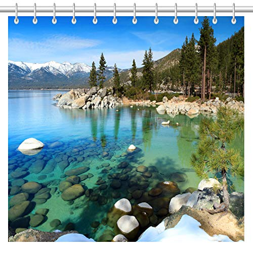 lovedomi Natural Scenery Theme Series Green Forest White Snow Mountain 3D Printing Technology Pattern Shower Curtain Waterproof Polyester Fabric Quick Drying 183 x 183 cm with 12 Hooks
