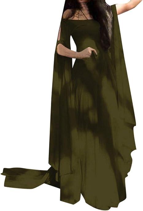 Topassion Womens Vintage Cosplay Dress Medieval Dress Ladies Maxi Retro Fancy Dress Bandage Corset Renaissance Party Club Elegante Dress Cloak Flare Sleeve Patchwork Floor Length Maid Dress Gown