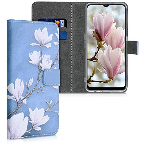 kwmobile Wallet Case Compatible with Oppo A5 (2020) - PU Leather Flip Cover with Card Slots and Stand - Magnolias Taupe/White/Blue Grey