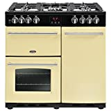 Belling Farmhouse 90 DFT Cream Gas Cooker Range – Ovens and Cookers (Cooker, Cream, Rotating, Touch, Front, Enamel, Gas Stove)