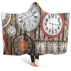 vsunburst Kids Hooded Blanket Clock Hooded Carseat Blanket Vintage Wall Blanket for Office Cape Snuggle 80x60