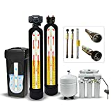 Fleck 5600SXT 40,000 Grain Water Softener System with Digital Meter, Brine Tank, Carbon Filter, Quick Adapters, RO System (Ultimate Kit.)