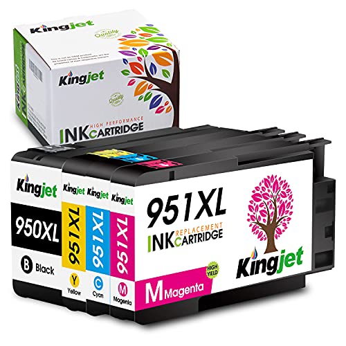 Kingjet Compatible Ink Cartridge Replacement for HP 950XL 951XL 950 951 Combo Pack Work with Officejet Pro 8600 8610 8620 8100 8630 8640 8660 8100 8615 8625 251dw 271dw 276dw Printers, 4 Pack
