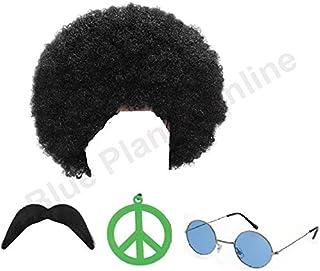 Blue Planet Fancy Dress Hippie Hippy Afro Wig Sunglasses Moustache Green Peace Medallion Fancy Dress