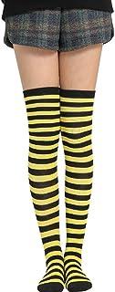 ✿ Calcetines largos de punto cosplay para mujer y niña con rayas de contraste sobre la rodilla y muslo, disfraz de Halloween