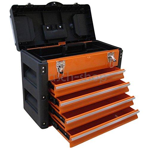 METALL Werkzeugkiste Werkzeugbox Werkzeugkasten Serie 3061 von AS-S, Farbe:Orange