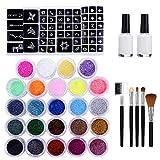 VSADEY Kit de Tatuajes Temporales, Tatuaje de Brillo con 24 Colores 174 Hojas Únicas Plantilla, Pintura para Cuerpo Body Art Tatuajes Lentejuela Maquillaje para Fiesta