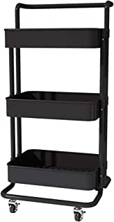 Kitchen Storage Trolley, Multi-purpose 2/3Tier Carbon Steel Mobile Shelving Unit Organizer with Wheels, for Home Office Ba...