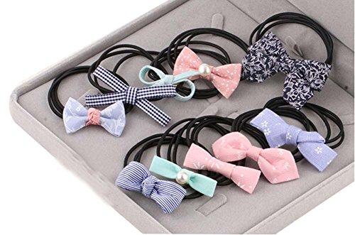 10pcs Belle bowknot Filles Femmes élastiques Porte-queue de cheval cravate cheveux, couleurs mélangées