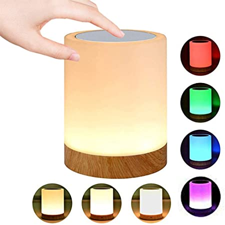 Caxmtu LED Night Light Touch Lamp Bedside Table Lamp for Kids Bedroom Rechargeable Dimmable Warm White Light + RGB Color Changing