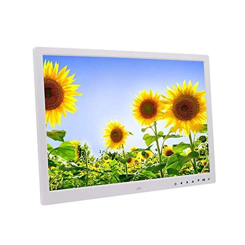 Digitaler Rahmen 17In Großer Bildschirm Elektronisches Fotoalbum 1080P Video Music Player-Wecker-Kalender Mit Fernbedienung,Weiß