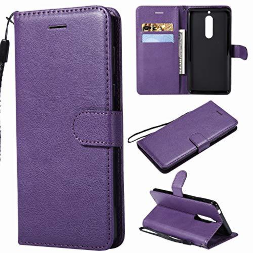 Laybomo Funda para Nokia 5 Carcasa Bolsa Tapa Cuero Billetera Magnética Protector Silicona Suave TPU Flip Cover Funda para Nokia 5 Avec Fente pour Carte, Serie Empresarial (Púrpura)