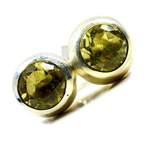 Jewelryonclick - Pendientes redondos de cuarzo y limón natural, plata de ley, diseño de mariposa