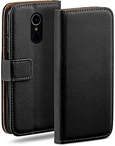 moex Klapphülle kompatibel mit LG K8 (2017) Hülle klappbar, Handyhülle mit Kartenfach, 360 Grad Flip Hülle, Vegan Leder Handytasche, Schwarz