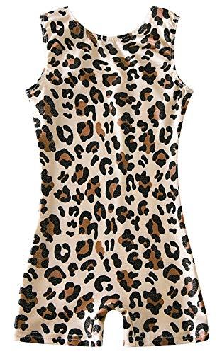uideazone Stylish Leotards for Girls Gymnastics Leopard Pattern Biketards Kids Children Dance Unitards with Shorts