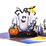 FunDiscount Shop Halloween Greeting Card, Halloween Pop Up Card, Scary Spooky 3D Card, Pumpkin Skull Ghost Witch Bat Card, Popup Greeting Card for Kids Adult Halloween Themed Party (Ghost)