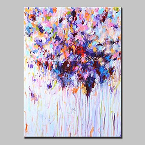 Pintura Al Óleo Pintada A Mano Sobre Lienzo,Resumen De Plantas,Flores Hermosas Flores De Color Rosa Púrpura Azul Minimalista,Tamaño Grande Pintura Mural De Arte Moderno Adorno Ilustraciones Para