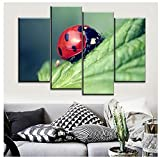 KPWAN Impresiones sobre Lienzo Decoracin del Hogar 4 Piezas Animal Red Ladybug Poster Modern Living Room Pictures Wall Art (C) con Marco