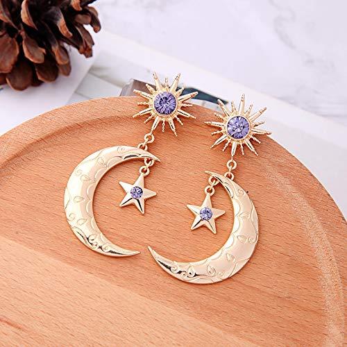 GSZPXF Joyería Hecha a Mano de Cristal Estrella de la Luna del Pendiente de Gota for Las Mujeres (Color : Gold Color)