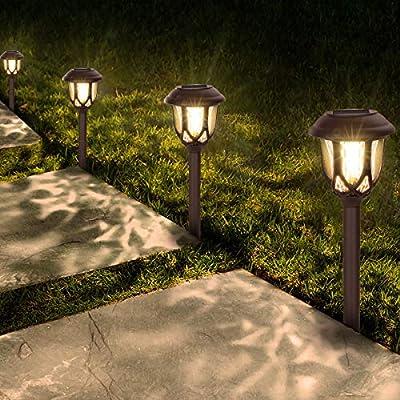 Solar Lights Outdoor Decorative, Pathway Solar Lights Outdoor Waterproof 10 Pack Solar Path Lights Christmas Solar Path Lights Landscape Lighting for Garden Driveway Yard Patio Walkway-Warm White