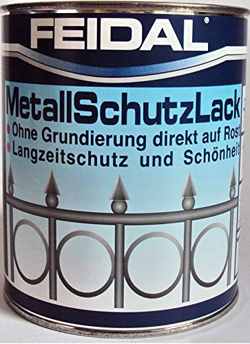 Feidal Metallschutzlack , 3 in 1 Rostschutz , Grundierung u. Lack in einem , Farbton silber / weissaluminium RAL 9006 , glänzend / 750 ml , Streichbar direkt auf Rost / Speziallack für Handwerk u. Industrie / stoß- u.schlagfest / f. Eisen u. Stahl