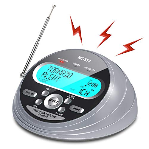 【2021 Newest Version】NOAA Emergency Weather Alert Radio-S.A.M.E. Localized Programming, 80+ Emergency Alerts, Alarm Clock & AM/FM/NOAA Weather Radio with Battery Backup, External Antenna for Emergency