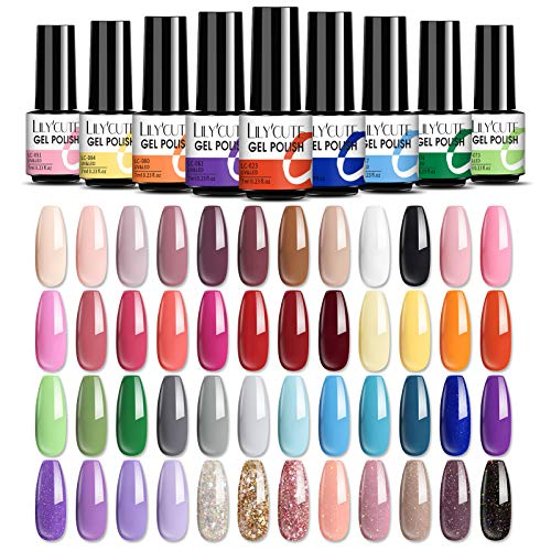 LILY'CUTE UV Nagellack Nudefarben Set Shellac Nagellack 12 farben Nude Rosa Glitzer Pastell Gellack Soak Off UV Gel Nagellack Set Design für Nagelstudio Design DIY zu Hause 7ml