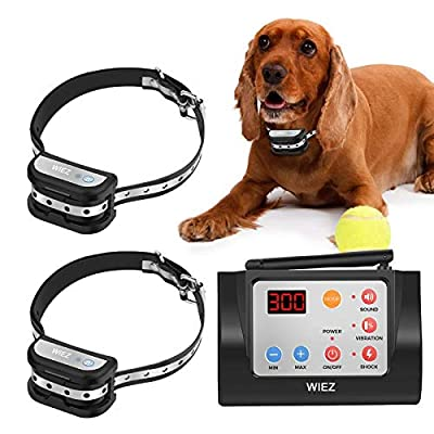 WIEZ Dog Fence Wireless & Training Collar Outdoor 2-in-1, Electric Wireless Fence w/Remote, Reflective Stripe,Adjustable Range, Waterproof, Harmless for All Dogs- 2 Collars
