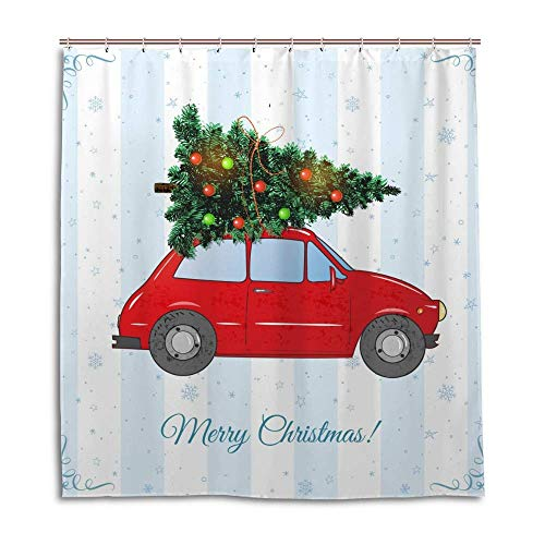 Shower Curtain Bath Curtain Set Farmhouse Fabric with 12 Hooks Vintage Red Car Christmas Tree Decor Bathroom Accessories Polyester Waterproof Washable 60x72 inch
