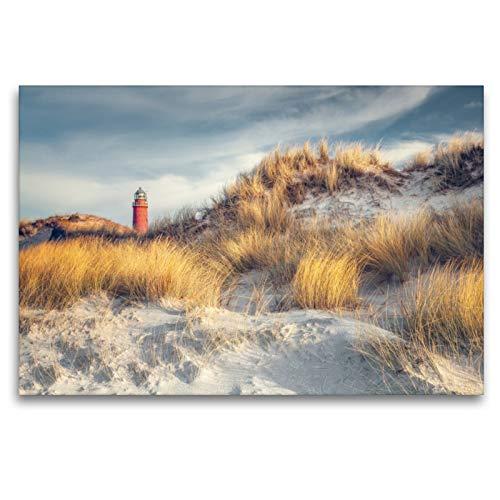 CALVENDO Premium Textil-Leinwand 120 x 80 cm Quer-Format Leuchtturm Darßer Ort, Leinwanddruck von diwiesign
