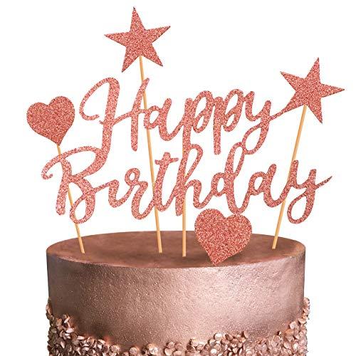 Humairc Tortendeko Rosegold Geburstagstorte Deko Happy Birthday Girlande Herze Sternen Cake-Topper Kuchen Aufsätze für Mädchen Frauen