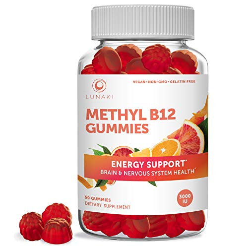 Lunaki Methyl B12 3000 mcg Gummies for Adults - Organic Gummy Non-GMO Vegan Paleo No Corn Syrup All Natural Vitamins for Energy Support and Bone Health 30 Day Supply