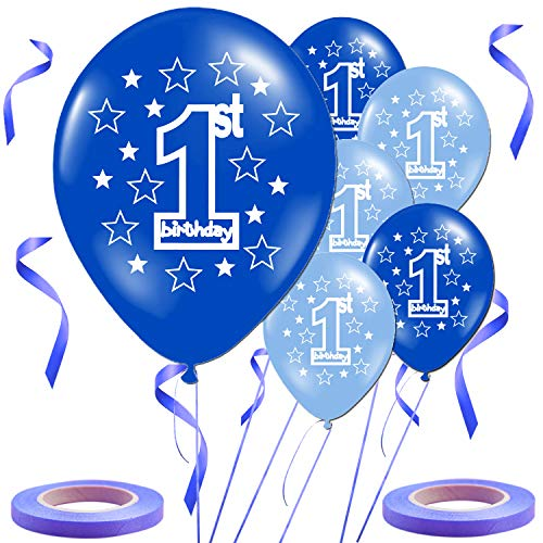Ldawy Decoraciones para Fiestas de 1er cumpleaños, 30 Piezas Los Globos de Fiesta Impresos de Primer cumpleaños de Azul Chico Vienen con Dos Rollos de Cinta Azul