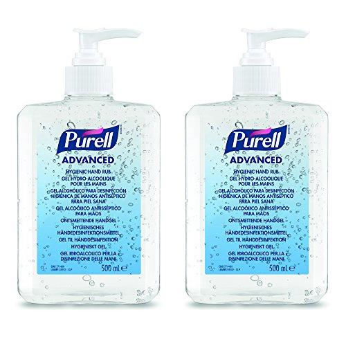 PURELL Desinfectante de manos higiénico avanzado - Frasco bomba de 500 ml - paquete doble