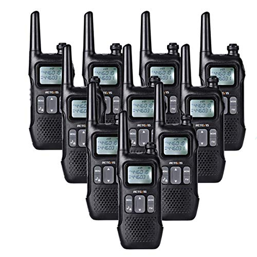Retevis RT616 Walkie Talkie Licentievrij PMR446 VOX 16 Kanalen Portofoons FM Radio LED Zaklamp Dual Watch Walkietalkie 2 in 1 USB-Oplaadkabel (5Paar, Zwart)