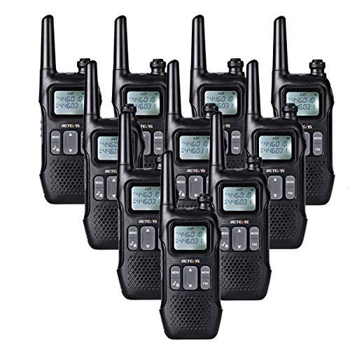 Retevis RT616 Walkie Talkie Licentievrij PMR446 VOX 16 Kanalen Portofoons FM Radio LED Zaklamp Dual Watch Walkietalkie 2 in 1 USB-Oplaadkabel (5Paar, Zwart)