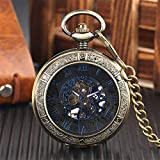 XQKQ Reloj de Bolsillo Reloj de Bolsillo mecánico Hombres Azul Números Romanos Pantalla Reloj Colgante Transparente Regalos para Mujeres Reloj de Cuerda Manual