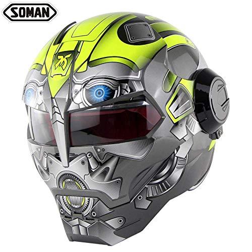 Yhongyang Super Persönlichkeit Motorradhelm Iron Man Integralhelm Retro Style Harley Transformers Integralhelm,M
