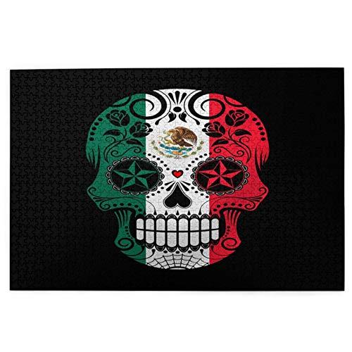 Yoliveya 1000 Stück Puzzle,Bandera Mexicana Zuckerschädel,Bild Puzzle Spiele für Erwachsene und Kinder Familie Hochzeit Abschlussgeschenk