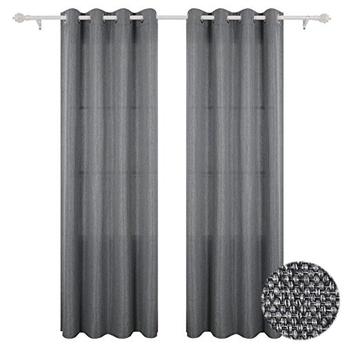 Deconovo Darkening Grommet Textured Drapes Faux Linen Curtains for Living Room 52x63 Inch Grey
